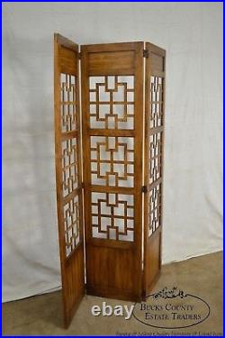 Mid Century Vintage Asian Style 3 Panel Room Divider Folding Screen