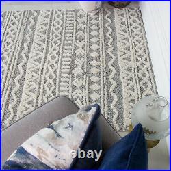 Modern Scandi Rug Quality Cream & Grey Rug Moroccan Carved Large Rug Boho Style