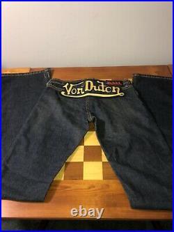 NWOT Women's Authentic Von Dutch Originals 90s Vintage Style Jeans Size 26 Dark