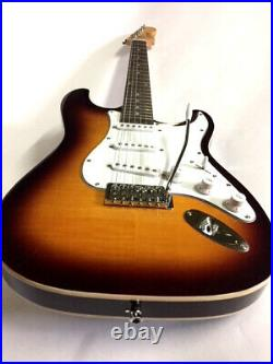 New 6 String Sunburst Double Bound Solid Body Strat Style Electric Guitar