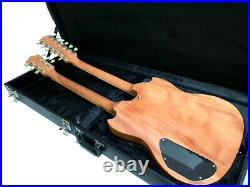 New Burl Maple 12/6 Double Neck Solid Sg Style Electric Guitar + Hard Shell Case