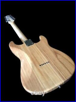 New Left Handed 12 String Natural Woodgrain Strat-style Electric Guitar