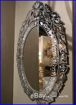 New Oval Venetian Style Glass Wall Mirror with Antique Style Etched Glass & Motif