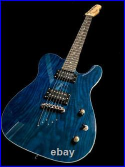 New Tele Style 6 String Burl Maple Top Electric Guitar Trans Blue
