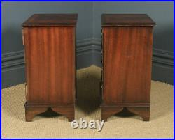 Pair Georgian Style Flame Mahogany Bedside Chest of Drawers Tables Nightstands