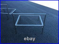Pair Mid Century Low Profile Chrome Arm Lounge Chairs Frame Milo Baughman Style