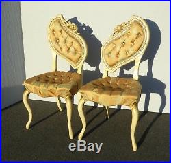 Pair Vintage French Provincial Heart Shaped Style Accent Chairs As-Is