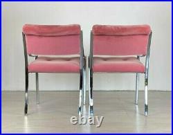 Pair Vintage Mid Century Modern Milo Baughman Probber Style Chrome Pink Chairs