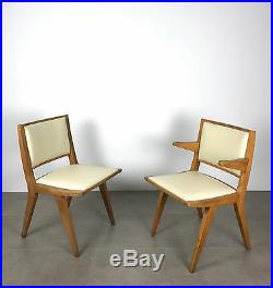 Pair Vintage Mid Century Modern Wood Chairs By Daystrom 1950's Jens Risom Style
