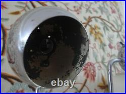 Pair Vintage Mid Century Sonneman Kovacs Style Chrome Globe Eye Ball Table Lamps