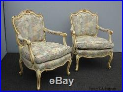 Pair of Vintage French Country Louis XV Style Creme Floral Accent Arm Chairs