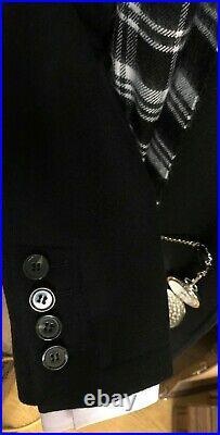 Peaky Blinders Overcoat Black Coat Vintage Cromby Style Wool Size 42 44