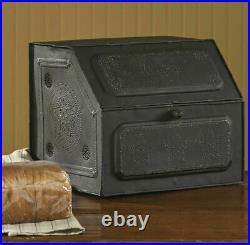 Primitive Farmhouse Black Star Metal Bread Box Vintage Style Kitchen Decor