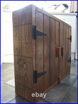 Rustic Antique Style Solid Wood Wall Cupboard Shelf Kitchen/bathroom Handmade
