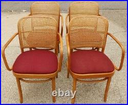 Set Vintage Mid Century Thonet Style Cane Back Bentwood Dining Arm Chairs Empire
