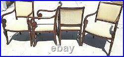 Set of 4 Hollywood Regency Style Mahogany Dining Scroll Arm Armchairs Chairs
