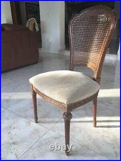 Set of 6 Antique French Louis XVI Style Dining Room Chairs with cane back