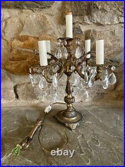 Shabby Antique Vtg Table Chandelier Candelabra Crystal Prism Lamp French Style