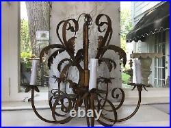 Shabby Antique Vtg Tole Chandelier Italian Style