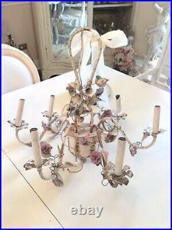 Shabby Vtg Antique Porcelain Rose flower Chandelier french italian style metal