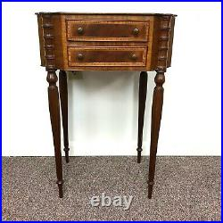 Sheraton Style Banded Mahogany 2 Drawer Side Table With Reeded Leg Cookie Corner