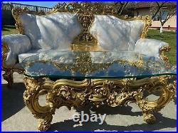 Silik Italy Baroque Style Sofa Set 2 Seater + 2 Armchairs + Table #s17