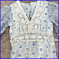 Small Vintage 1970s Gunne Sax Style Lace Up Wedding Dress Blue Calico Peasant 04