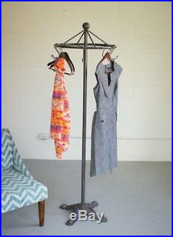 Spinning Clothes Rack Antique Style Industrial Garment Stand Decor Coat Hat Rack