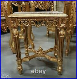 Table Baroque Style Squere Side Table Gold With Marble Top #mb75