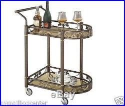 Tea Serving Bar Cart on Wheels & Glass shelves Antique Style Metal kitchen Cart