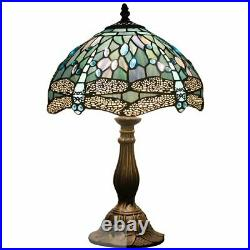 Tiffany Lamp 18 Inch Tall Sea Blue Stained Glass Dragonfly Crystal Style Shade