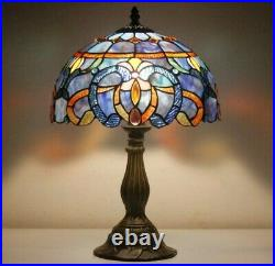 Tiffany Lamp White Blue Baroque Stained Glass Shade Antique Style Base Reading