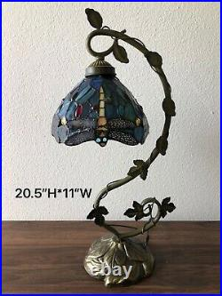Tiffany Style Table Lamp Dragonfly Green Blue Stained Glass Antique Vintage 21H
