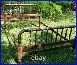 Tropical Sunrise! Hand painted antique jenny lind style full size bed