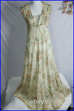 True Vintage 70s Maxi Dress Floral Cottagecore Prairie Unbranded Gunne Sax Style
