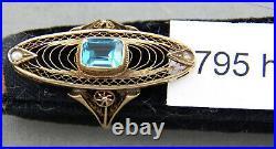 Unique Antique 10K Gold, Pearl & Aquamarine Ring, Victorian Style, Size 4