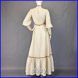 VINTAGE 70s GUNNE SAX STYLE BOHO MAXI DRESS Festival WEDDING Renaissance S 4 6