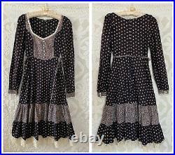VTG Gunne Sax Style Montgomery Ward Prairie Dress Long Sleeve Flower Buttons
