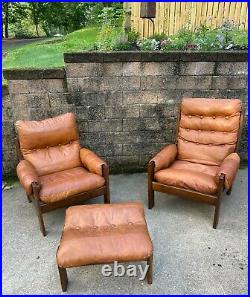 VTG Mid Century Percival Lafer Style His & Her Lounge Chairs & Ottoman SEE PICS