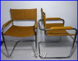 VTG Pair Mid Century Modern Chrome Steel Cantilever Sling Chairs Mart Stam STYLE