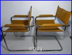 VTG Pair Mid Century Modern Chrome Steel Cantilever Sling Chairs Mart Stam STYLE