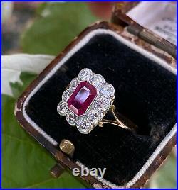 Victorian Style Ruby & Diamond 18ct Yellow Gold Ring 1ct Diamond + 1ct Ruby