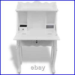 VidaXL Wooden Secretary Desk Vintage Storage French Style White Carved Writing