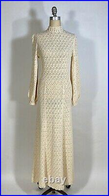 Vintage 1960's CREAM crochet Wedding-worthy gown dress withbishop style sleeves M