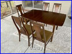 Vintage 1960s Broyhill Style Mid Century Modern Dining Set w Table & Chairs