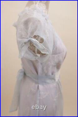 Vintage 1970/80's BoHo Gunne Sax Style Dress Floral Cornflower Blue (Size 7)