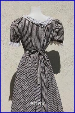 Vintage 1970s Gunne Sax Style Dress Black Floral Calico Prairie Cotton Maxi