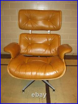 Vintage 1970s Herman Miller Style Eames Era Leather Lounge Chair and Ottoman
