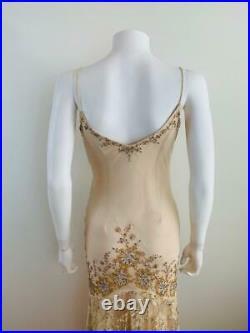 Vintage 1990s 30s Style Silk Chiffon Lace Beaded + Sequin Wedding Maxi Dress S