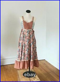 Vintage 70's HOMESPUN Cottagecore Gunne Sax Style Praire dress Rare